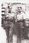 Helias Doundoulakis with John (Yanni) Androulakis in British uniforms, Cairo, 1943.