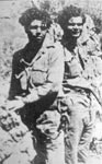 Saboteurs John (Yanni) Androulakis, left, with Kimon Zografakis, at the time of the Peza  Airfield sabotage.  Earlier, George Doundoulakis, Zografakis, and two English SOE saboteurs, destroyed the Kastelli Airfield