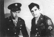 Sgt. George Doundoulakis and Cpl. Helias Doundoulakis, reunited after their successful missions, 1945.